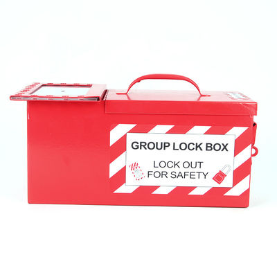 China Lockey Portable Heavy Duty Steel Group Combined Lockout Storage Box Red Color factory