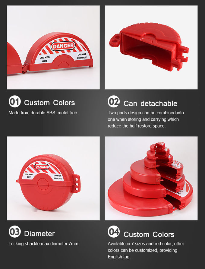 Red Security Durable Polypropylene ABS Safety Lock Gate Valve Lockout Tagout