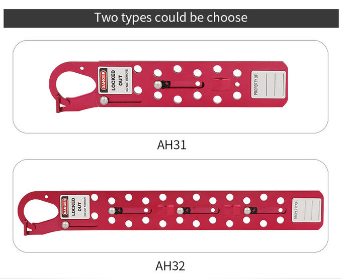 Lengthen 24 Hole Sliding Long Lock Out Tag Out Hasp With 24 Locks In Red
